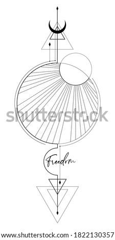 Blackwork tattoo with sun, moon, triangles with sacred geometry tattoo design, mystic symbol. New school dotwork, line art minimalist style tattoo. Boho design. Print, posters, t-shirts and textiles.