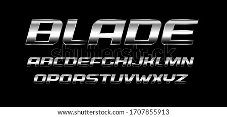 Blade letters set. Polished metal texture, chrome and silver color alphabet. Bold italic font, strong and speed style, ideal for sport and automotive. Vector typography Foto d'archivio ©