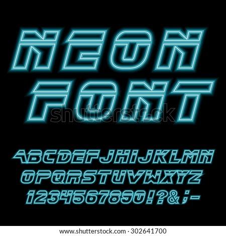 Blade runner neon font. Vector.