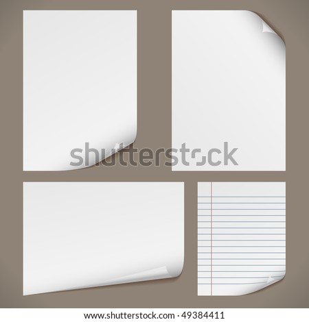 Blank A4 papers with curled corners and notepad lined page. Original proportions are kept.