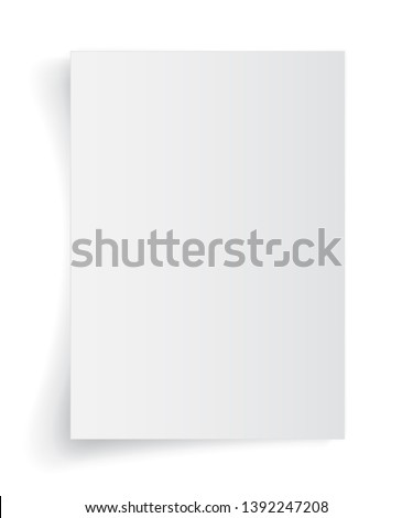 Blank A4 sheet of white paper with shadow, template for your design. Set. Vector illustration.