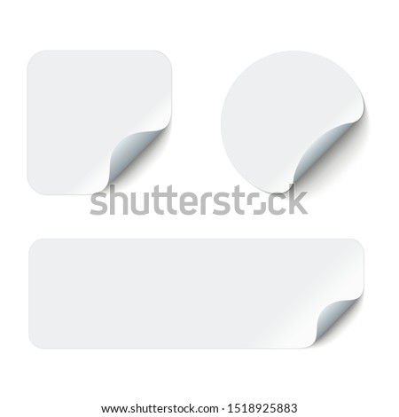 Blank adhesive stickers mock up with curved corner. Mockup empty sticky label.