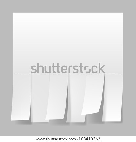 Blank advertisement with cut slips. Illustration on white background.