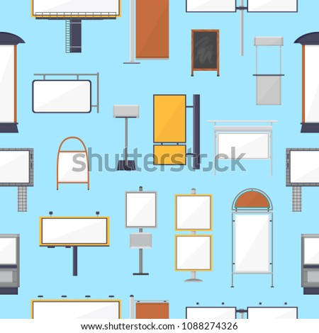 Blank advertising vector ad billboard template of advetiser and outdoor publicity advertisement illustration set of business advertised board seamless pattern background