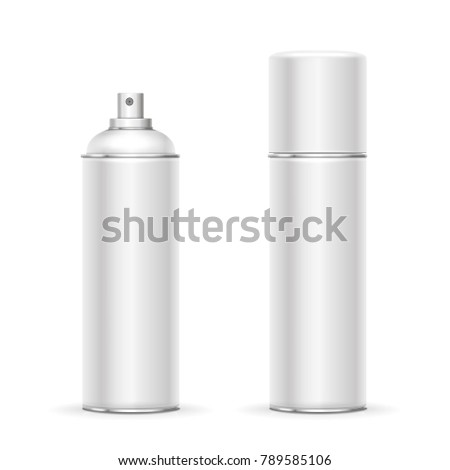 Blank aluminum spray can. Template metalllic hairspray, deodorant bottle vector