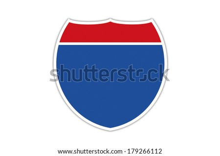 Blank American Interstate Highway sign isolated on white background.