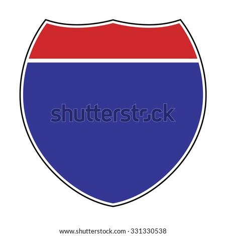 Blank American Interstate Highway sign . Vector illustration