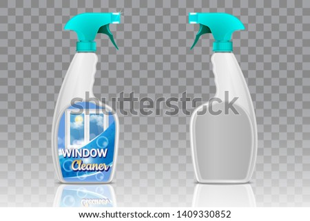 Blank and with window cleaning product label spray bottles. Vector realistic 3d illustration on transparent background. Handy plastic trigger spray bottle mockup set.