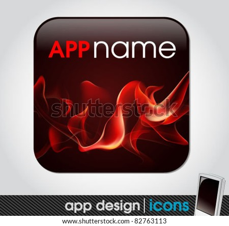 blank app icon for mobile devices with fire background