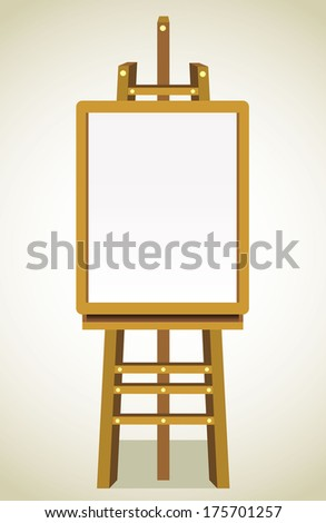Blank art board, wooden easel, front view