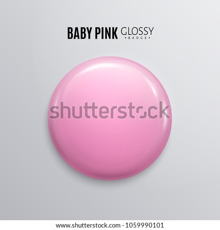 Blank baby pink glossy badge or button. 3d render. Round plastic pin, emblem, volunteer label. Vector.