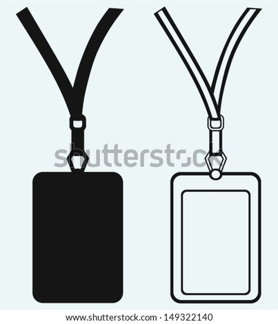 Blank badge with neckband isolated on blue background