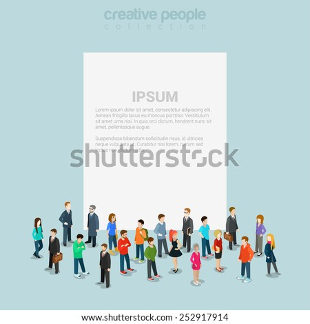 Blank banner template with crowd of casual micro people around flat 3d web isometric infographic concept vector. Creative people collection.