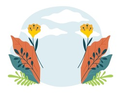 Blank banner with flowers and sky with clouds. Floral card design, isolated blossom of spring or summer. Springtime and summertime, wildflowers compositions. Eco and nature. Vector in flat style