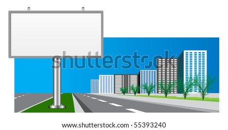 blank billboard over the city