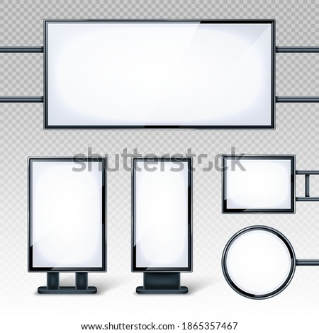 Blank billboards displays, empty white LCD screens or stands for advertising. Horizontal, vertical, round and rectangular blank banners isolated on transparent background, realistic 3d vector set Foto d'archivio ©