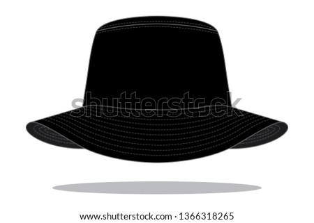 94408f92a8f2e Blank Black Bucket Hat   Fishing Hat - Shutterstock ID 1366318265