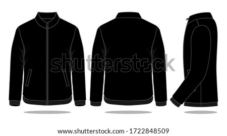 Blank Black Jacket Vector For Template.Front, Back and Side Views. ストックフォト ©