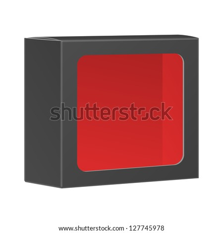 Blank black product package box with window. Vector, isolated on white background