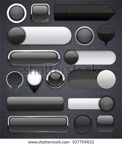 Blank black web buttons for website or app. Vector eps10.