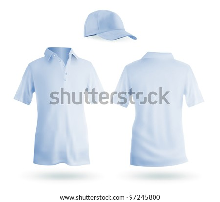 Blank blue men's polo and a baseball cap template.