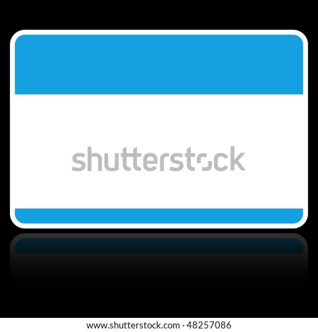 Blank blue name tag «HELLO. My name is» sticker with reflection on black background