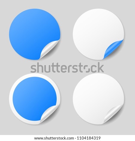 Blank blue round stickers with curled corners, realistic mockup #1104184319