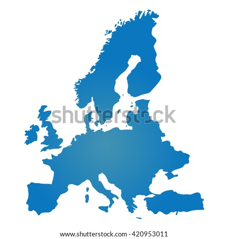 Blank Blue similar Europe map isolated on white background. Vector EU similitude template for website, design, cover, infographics. Graph illustration.