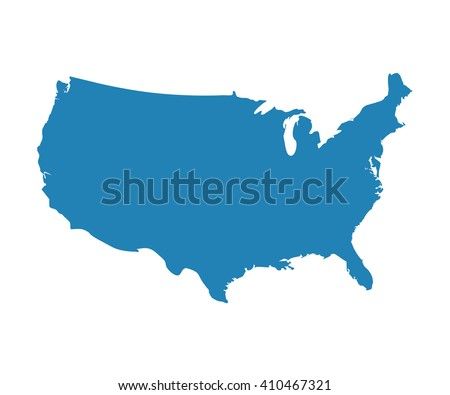 Blank Blue Unites State map vector. US of America icon.