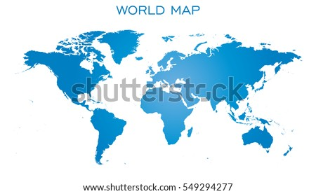 blank blue world map isolated