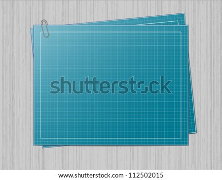 Blank blueprint paper with one sheet of the same paper underneath and joined with the paperclip. Both blueprints are laid on the grey metal lookalike background...