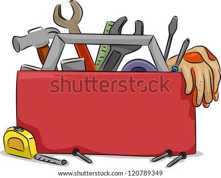 Blank Board Illustration of Red Tool Box with Carpentry Tools - stock vector