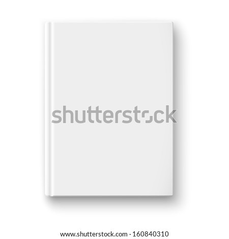 Blank book cover template on white background with soft shadows. Vector illustration.