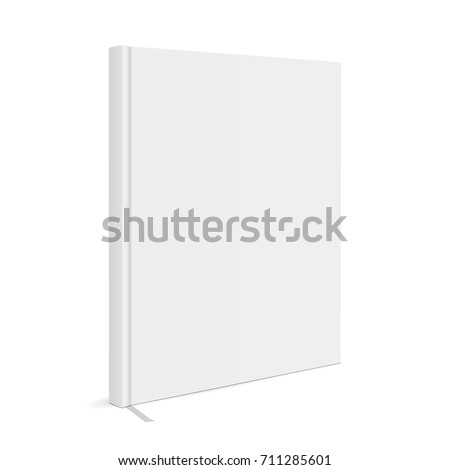 Blank book cover with bookmark isolated on white background. Mockup to display your design. Vector illustration
