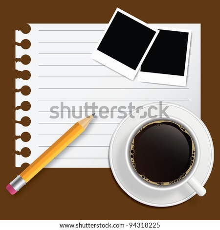 Blank book with coffee and photo frame vector illustration on business theme