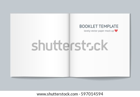 Blank booklet mock up with shadow isolated on dark gray background. Realistic vector template for booklet, leaflet, flyer, newspaper. Mockup for graphic designer portfolio presentation