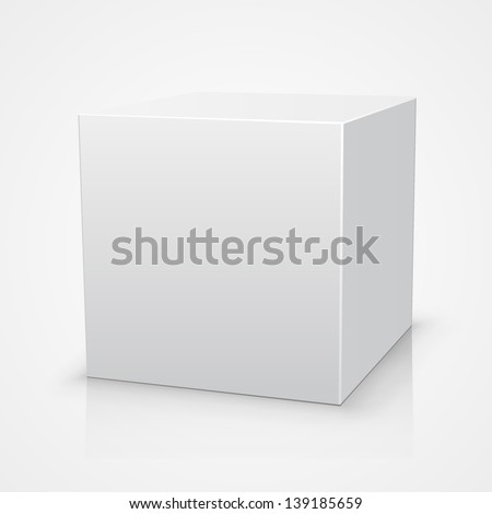 Blank box on white background with reflection, Illustration Isolated On White Background. Mock Up Template Ready For Your Design, White box vector, template design element, Vector illustration