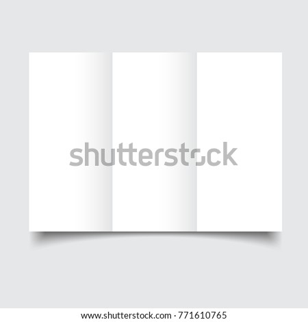 Blank brochure template with paper bends and soft shadows. Blank white folding paper flyer. Mockup brochure. Front view. Template ready for your design. A4 size isolated on gray background.