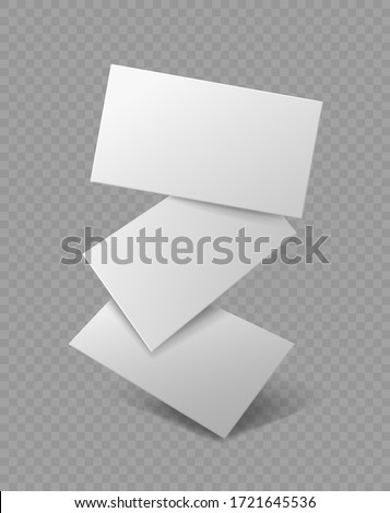 Blank business card. Falling realistic branding cards, advertise presentation. Empty rectangle paper, marketing vector document template
