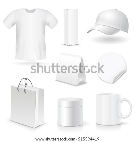 Blank business corporate identity templates, gifts, packaging and souvenirs set. Promotional Mock up. Vector.