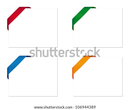 Blank card with corner ribbon - stock vector