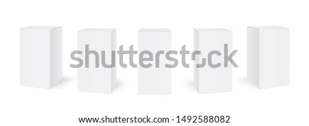 Blank cardboard package boxes mockup. Box set. Five templates, layout of boxes in different positions with a shadow for design or branding - stock vector.