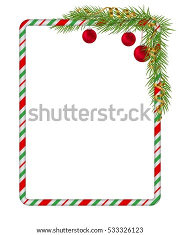 Blank Christmas border, candy cane frame with branch of christmas tree, fir, red balls, gold serpentine, ribbon. Isolated on white background. Holiday design, decor. Vector illustration.