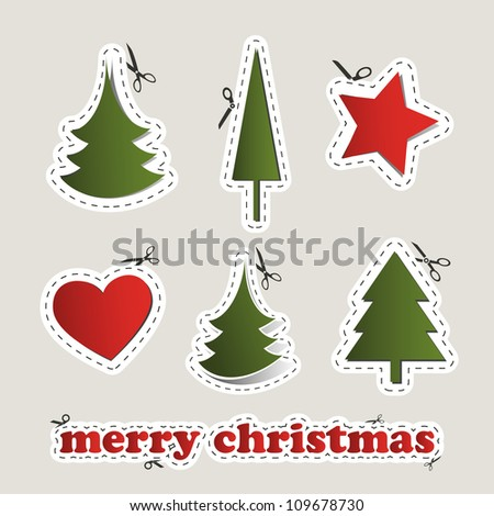 Blank Christmas Labels with Scissors - stock vector