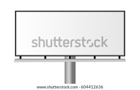 Blank city rectangular billboard isolated on white background. Mockup for advertising banners or design. POS banner. Vector illustration