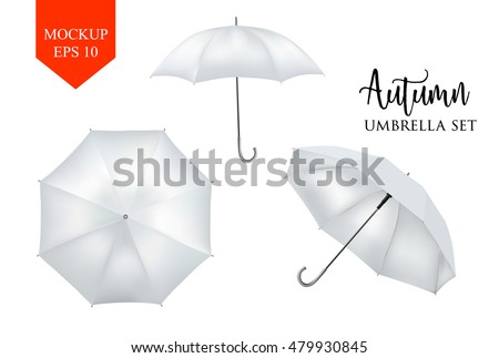 Blank Classic Opened Round Rain Umbrella ,Parasol Sunshade. Mock up Close up on White Background set. Front, top Side View,White Vector illustration image for advertising, poster, banner, print design