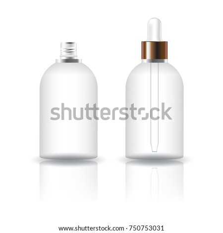 Blank clear round cosmetic bottle with white dropper lid for beauty or healthy product. Isolated on white background with reflection shadow. Ready to use for package design. Vector illustration.