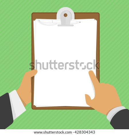 blank clipboard in hands