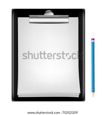 blank clipboard with an empty sheet of paper and pencil isolated on the white background