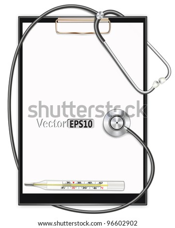 blank clipboard with stethoscope. vector